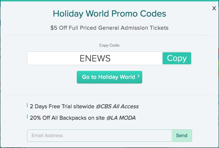 Holiday World promo code example