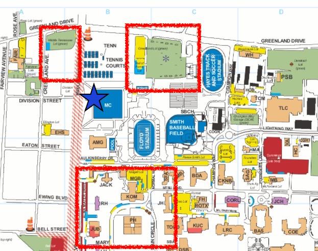 中部テネシー州立大学の駐車場